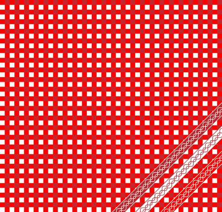 gingham: A vector illustration of a red gingham fabric background with ribbons Illustration