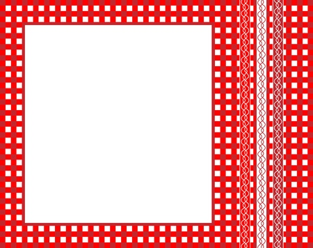A vector illustration of a red gingham fabric frame with ribbons Vector