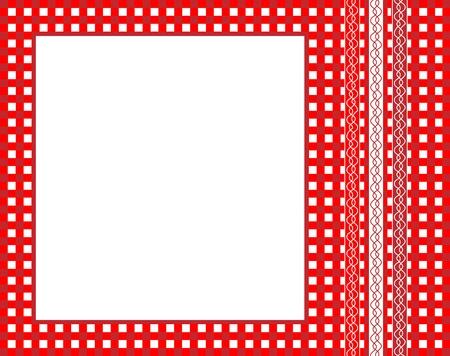 manteles: Una ilustraci�n vectorial de un marco de tela roja mo�a con cintas