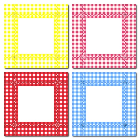 A vector illustration of gingham frames on white. Space for text or image insertion. Vector