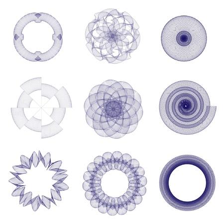 guilloche pattern: Una ilustraci�n vectorial de elementos de l�neas entrecruzadas aptos para su uso en certificados, t�tulos o premios
