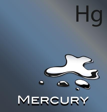 Una ilustración vectorial de mercurio con símbolos químicos Hg Ilustración de vector