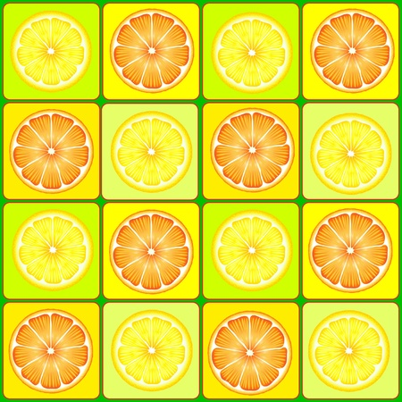 oranges: A vector background of orange and lemon slices Illustration