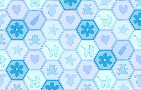 A vector illustration of a patchwork fabric for a baby boy Vector