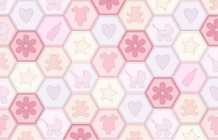 A vector illustration of a patchwork fabric for a baby girl Vector