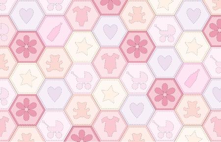 sampler: Una ilustraci�n vectorial de una tela de mosaico para una ni�a Vectores