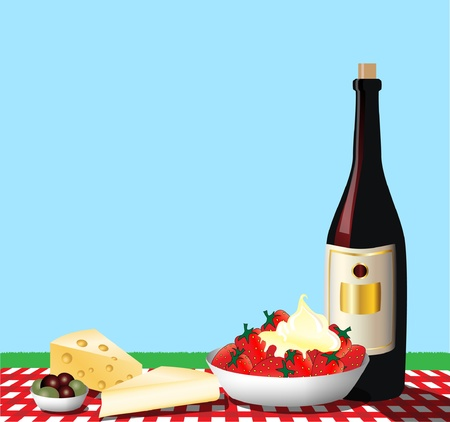 A vector illustration depicting a picnic on a gingham tablecloth. Space for text. Vector