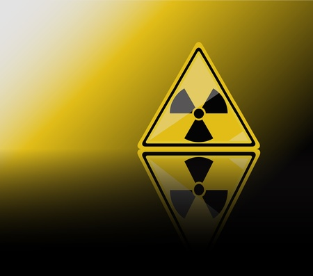 Una ilustración vectorial de un signe de advertencia de radiación. Refleja con espacio para texto.