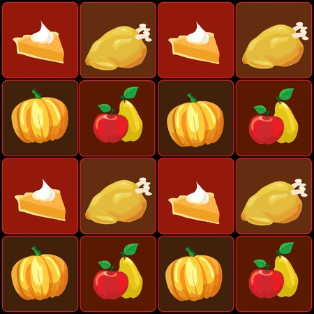 A vector illustration of Thanksgiving food items. Vector