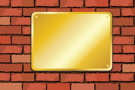 A vector illustration of a brass palque on an old brick wall with space for text Stock Vector - 10767196
