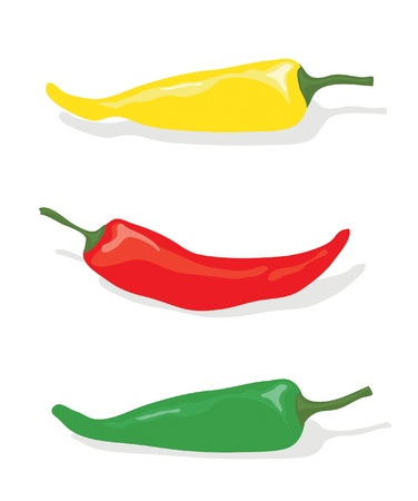 A vector illustration of red, green and yellow chilli peppers on white background Vector
