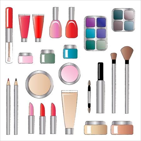 make up: Une des illustrations vectorielles de divers produits cosm�tiques. Croquis de style isol� sur blanc Illustration