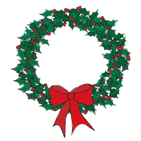 A vector illustration of a holly wreath on white. Sketch style with space for text Illustration