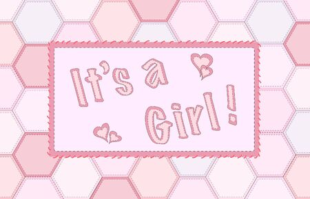A vector illustration of patchwork for baby girl announcement Vector