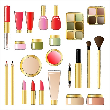 make up brush: Una ilustraci�n vectorial de diversos productos cosm�ticos. Estilo boceto aislado en blanco Vectores