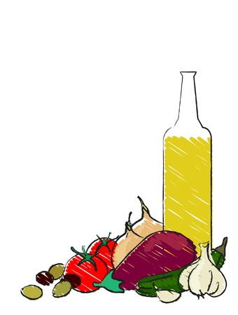 Mediterranean vegetables still life vector on white Stock Vector - 10767175