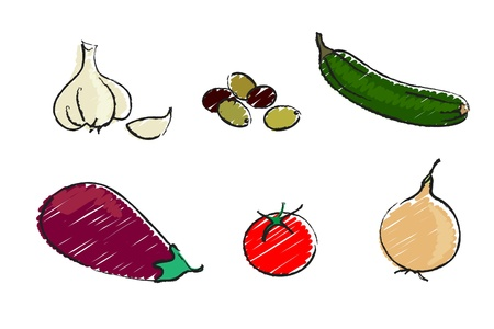 A vector illustration of a selection of mediterranean vegetables isolated on white. Sketch style. Vector