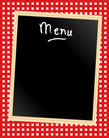 red tablecloth: A menu card chalkboard on gingham background. Space for text. Illustration