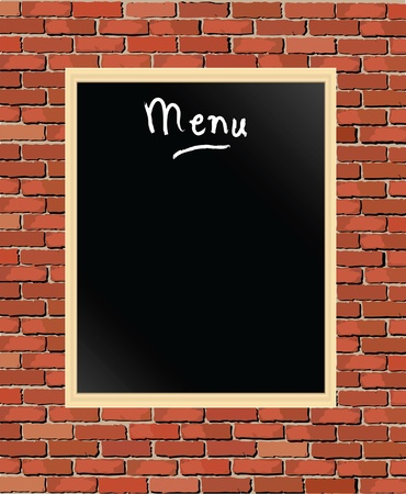 A vector illustration of a chalkboard menu on brick wall Vector