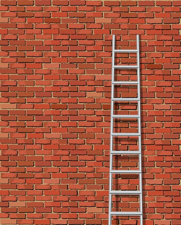 rungs: Una ilustraci�n vectorial de una escalera contra la pared y la edad Vectores