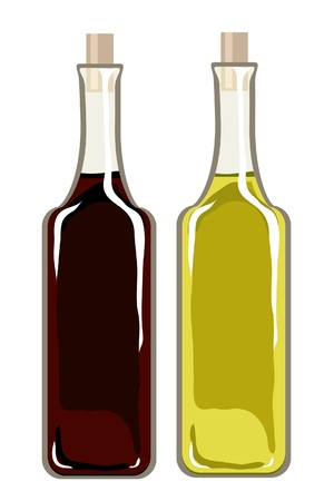 extra virgin olive oil: A vector illustration of bottles of olive oil and balsamic vinegar isolated on white Illustration