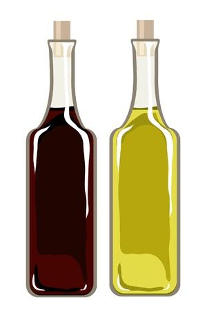 Een vector illustratie van flessen olijfolie en balsamico azijn op wit wordt geïsoleerd