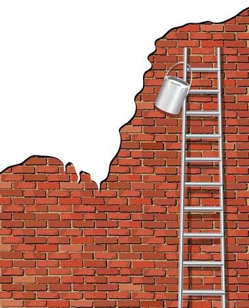 Una illustrazione vettoriale di pittura e vecchio muro. Spazio per il testo.
