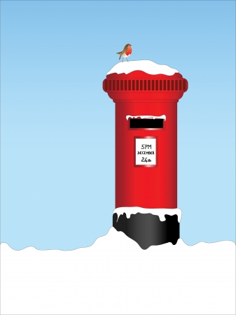 A vector illustration of a traditional post box in the snow with a robin perched on top. Vector