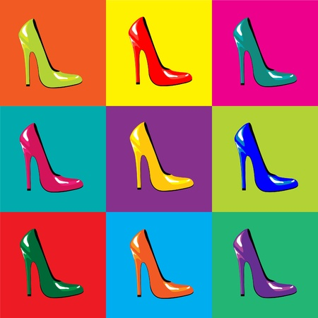 A vector illustraion of bright, high-heel shoes on colourful tiled background. Pop-art style. Seamless Vector