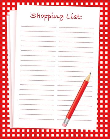 Una ilustración vectorial de una lista de compras en blanco sobre un mantel rojo y blanco. Espacio para el texto.