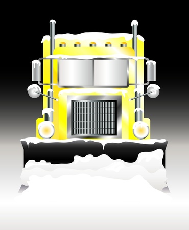 truck on highway: A vector illustration of a snow plough clearing heavy snowfall at night