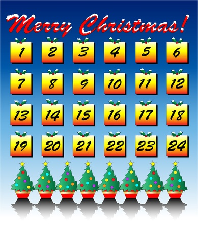 calendario diciembre: Una ilustración vectorial de un calendario de Adviento