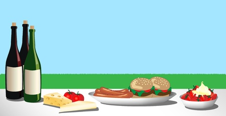 A vector illustration of a barbecue or picnic lunch laid out on the grass. Space for text