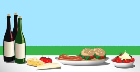 在草地上摊开的烧烤或野餐午餐的矢量插图。空间的文本