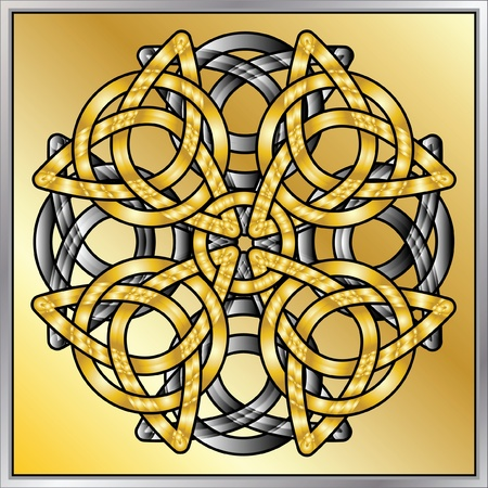 chrome border: A vector illustration of Celtic knots with a metalic effect Illustration