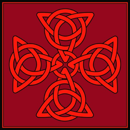 gaelic: A Cross formed of celtic knots in shades of red and black Illustration