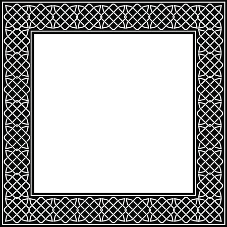 druid: A vector illustration of a decorative frame made of Celtic knots. Black and white with copy space