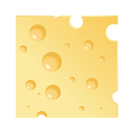 cheddar cheese: A vector illustration of a cheese slice isolated on white