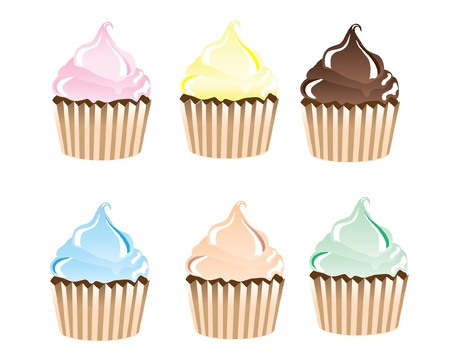 A vector illustration of frosted cupcakes in various colours isolated on white Vector