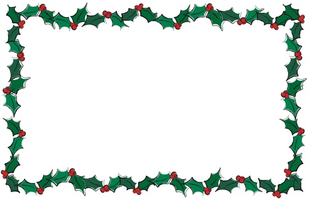 A vector illustration of holly leaves creating a frame. Isolater on white with space for text. Vector