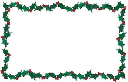 houx: Une illustration de vecteur de houx laisse créer un cadre. Isolater sur blanc avec espace pour le texte. Illustration