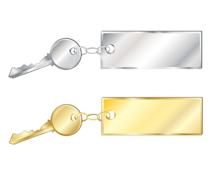 Keys with fobs in silver and gold. Isolated on white with space for text Vector