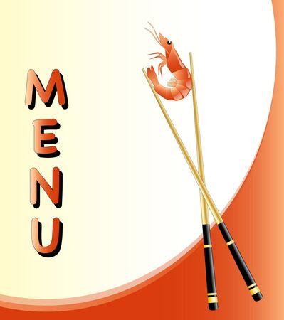 Un modèle de menu avec une crevette détenues par des baguettes. EPS10 format vectoriel.