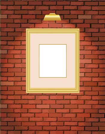 A vector illustration of an old brick wall with a blank gold picture frame Stock Vector - 10799082