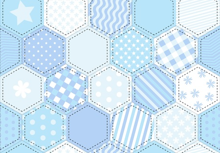 boyish: A vector illustration of a patchwork quilt background in shades of blue