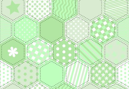 A vector illustration of a patchwork fabric in shades of green Ilustração