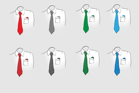 handkerchief: A vector illustration of business shirts and ties in various colours. Sketch style.