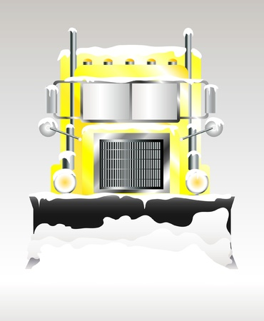 A vector illustration of a snow plough clearing heavy snowfall Vector