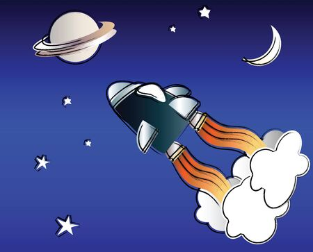 A vector illustration of a spaceship in space in the style of a child Stock Vector - 10799078