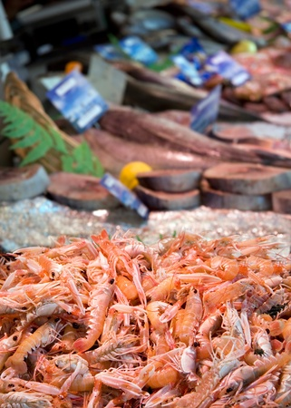 fishy: Prawns piled high on a fish stall at a market